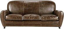 Vintage-Sofa 3-Sitzer aus Leder, braun Oxford