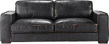 Vintage-Sofa 3-Sitzer aus Leder, schwarz Colonel