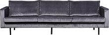 Vintage-Sofa Velours Grau 4 Sitzplätze ASPEN