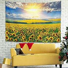 Vintage Sonnenuntergang Sonnenblume Feld Malerei