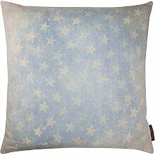 Vintage Stars Kissenhülle mit Stern Digitaldruck hochwertig (blau, ca. 50x50 cm)