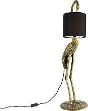 Vintage Stehlampe Messing Stoffschirm schwarz -
