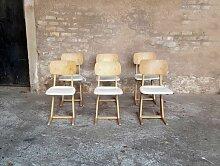 Vintage Stühle aus weißem & hellem Holz von