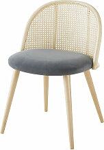 Vintage-Stuhl, anthrazitgrau, aus Rohrgeflecht und