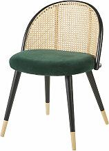 Vintage-Stuhl, grün aus Rattangeflecht und