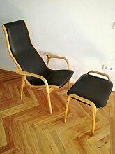 Vintage Stuhl mit Ledersitz und Hocker von Swedese