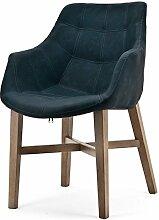 Vintage Stuhl NEBA blau Armlehne Polsterstuhl