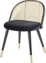 Vintage-Stuhl, schwarz aus Rohrgeflecht und