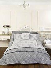 Vintage Style grau King Size Quilt Bettbezug und Kissenbezüge Bett Set Bettwäsche Bettwäsche