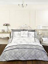 Vintage Style grau Single Quilt Bettbezug und Kissenbezüge Bett Set Bettwäsche Bettwäsche