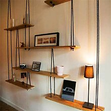 Vintage Style Massivholz Wandregal mit Hanfseil