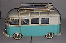 Vintage Surfer-Bus aus Metall, handbemalt, 28 x 15