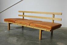 Vintage Tagesbett-Sitzbank mit Gestell aus Eiche