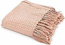 Vintage Tagesdecke 170 x 130 cm Baumwolle Decke Wolldecke Sofadecke Fransen (rosa)