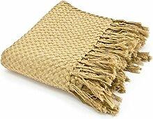 Vintage Tagesdecke 170 x 130 cm Baumwolle Decke Wolldecke Sofadecke Fransen (gelb)