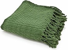 Vintage Tagesdecke 170 x 130 cm Baumwolle Decke Wolldecke Sofadecke Fransen (grün)
