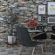 Vintage Tapete 3D Geprägte Backstein Steinwand