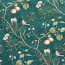 Vintage Tapete mit Apfelbaum, Vögeln, rustikal,
