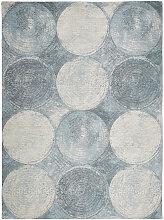 VINTAGE-TEPPICH 120/180 cm Blau, Weiß