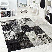 Vintage Teppich -Antik- Trendiger Patchwork Stil Designer Teppich in Grau, Grösse:68x120 cm