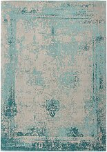 Vintage Teppich aus Chenillegewebe Türkis und