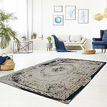 Vintage-Teppich Flachgewebe Handgefertigt Polyester Klassisch Ornamente Grau Blau Größe 160/230 cm