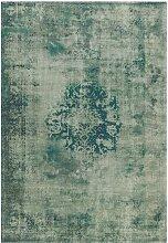 Vintage Teppich in Grün und Grau Kurzflor