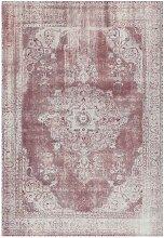 Vintage Teppich in Rot und Creme Weiß Kurzflor