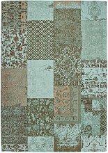 Vintage Teppich in Türkis und Taupe