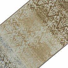 Vintage Teppichläufer | im angesagten Shabby Chic Look | hochwertige Meterware, gekettelt | Kurzflor Teppich Läufer | Küchenläufer, Flurläufer (Beige,80x500 cm)