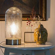 Vintage Tischlampe zylindrisch Glas mit Gold -