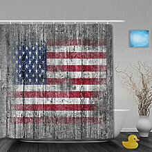 Vintage USA Flagge auf alten Holz klassische Badezimmer Duschvorhang Wasserdicht Mehltau ployster Stoff 91,4x 182,9cm Zoll, Multi5, 80(length) X 72(width)