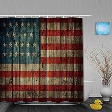 Vintage USA Flagge auf alten Holz klassische Badezimmer Duschvorhang Wasserdicht Mehltau ployster Stoff 91,4x 182,9cm Zoll, Multi1, 80(length) X 72(width)
