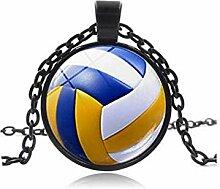 Vintage Volleyball Cabochon Glas Kette Anhänger