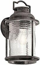 Vintage Wandlampe außen IP44 Regenglas Stahl