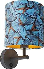 Vintage Wandlampe dunkelgrau mit Veloursschirm