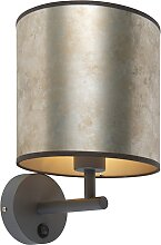 Vintage Wandlampe dunkelgrau mit Zinkschirm - Matt
