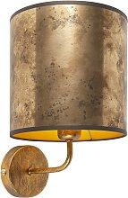 Vintage Wandlampe Gold mit bronze Schirm - Matt