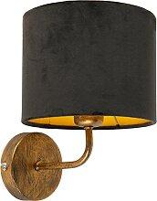 Vintage Wandlampe Gold mit schwarzem Veloursschirm