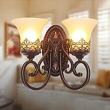Vintage-Wandleuchte 2 Leuchten mit HarzMaterial Glasschirmen Bett Wohnzimmer Flur Lichter