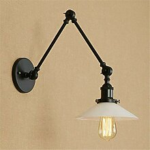 Vintage Wandleuchte Lampe Weiß Glas Swing Arm