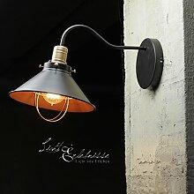 Vintage Wandleuchte schwarz 1x E27 bis max. 60W