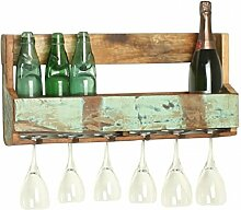 Vintage Wandregal mit Glashaltern Weinregal