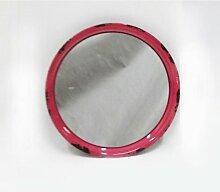 Vintage Wandspiegel Ø 30 cm Metallrahmen rot Shabby Spiegel rund Metall