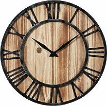 Vintage Wanduhr Lautlos, Teckpeak Holz Wanduhr Vintage Nicht Tickende Uhr Uhren 40x40cm