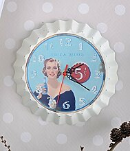 Vintage Wanduhr Pin Up Girl Rockabilly Uhr Retro Stil PALAZZO EXCLUSIVE
