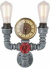 Vintage Wasser Rohr Wand Lampe Quartz Uhr
