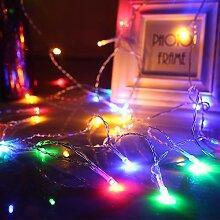 Vinteky® Mini LED 100er Lichterkette für Weihnachten Blumendekor Hochzeit Zimmer Dekoration Beleuchtung (Bunt)