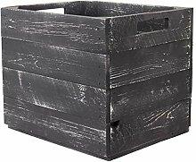 Vinterior 2 Stück Holzkisten Grau für Kallax