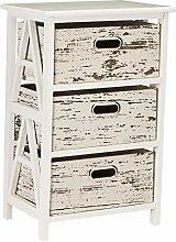 Vintiquewise Antik Holz Schrank mit 3Schubladen